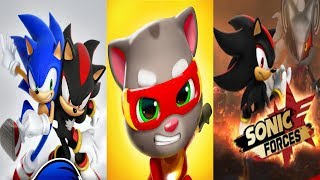 Sonic Dash SHADOW VS Talking Tom Hero Dash VS Sonic Forces SHADOW
