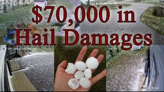 Major Hail Damage in Airdrie, AB, Canada on August 7, 2014 – Security Cameras