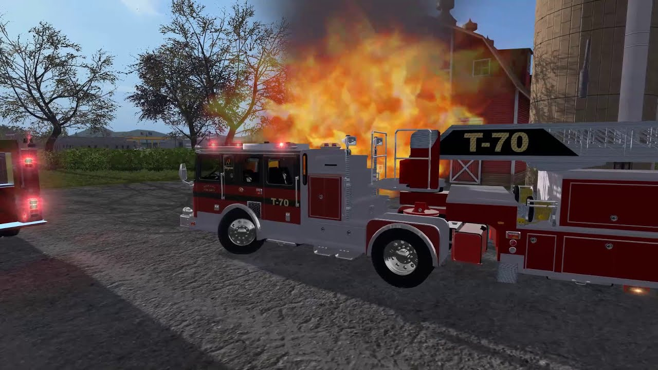 Farming Simulator 17 #21 Fire Department Responding To & Fighting A Fully  Involved Tractor Fire  Acepilot2k7 12:30 HD