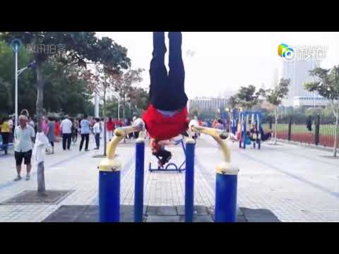 Aging strong: Grandpas compete on parallel bars in central China