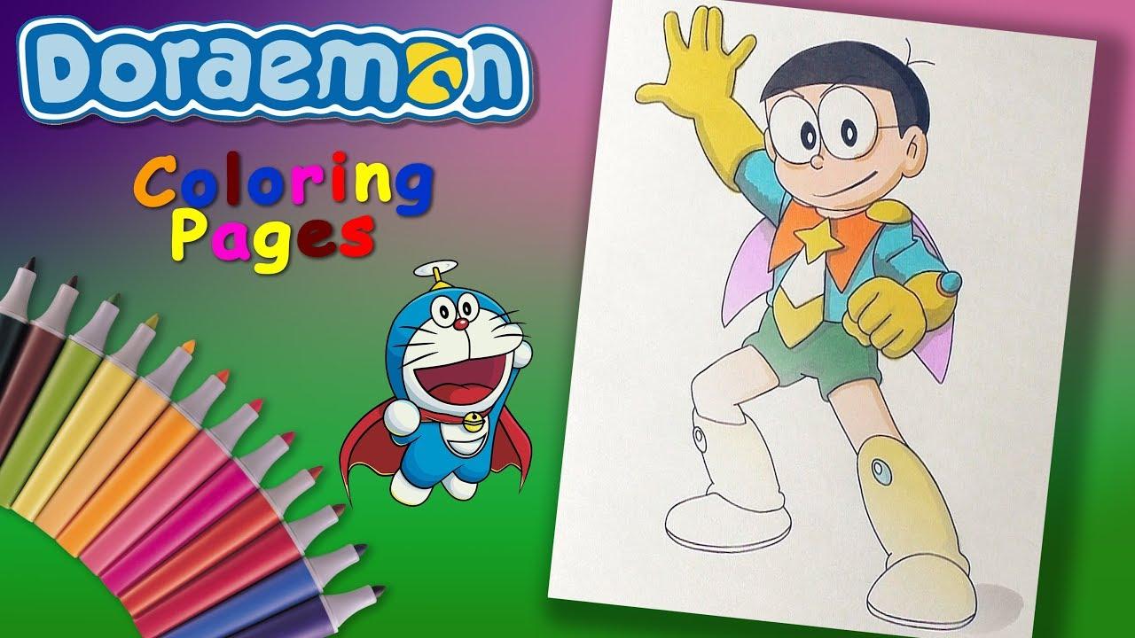 Nobi Nobita Superhero Doraemon Coloring Forkids Doraemon Character Coloring Page Youtube