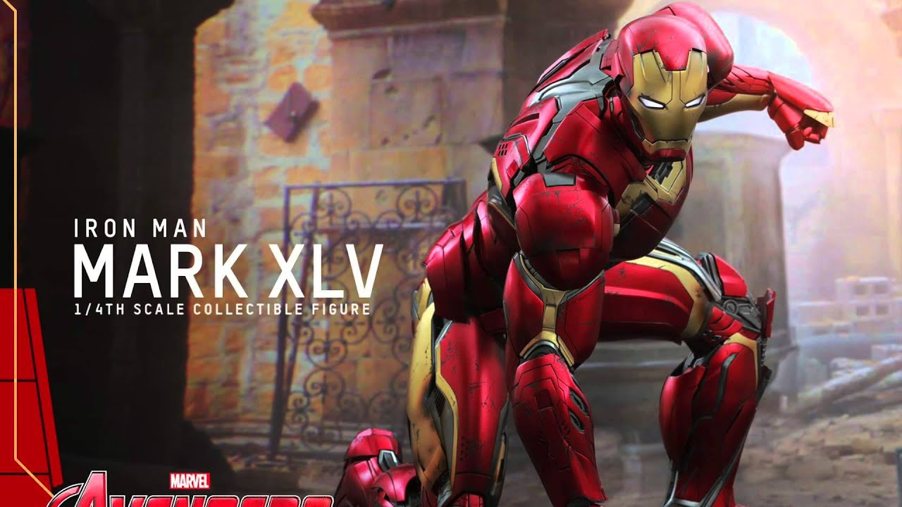 Avengers age of ultron hot toys mark xlv iron man 1 4 scale movie figure pics details youtube - Iron man 1 images ...