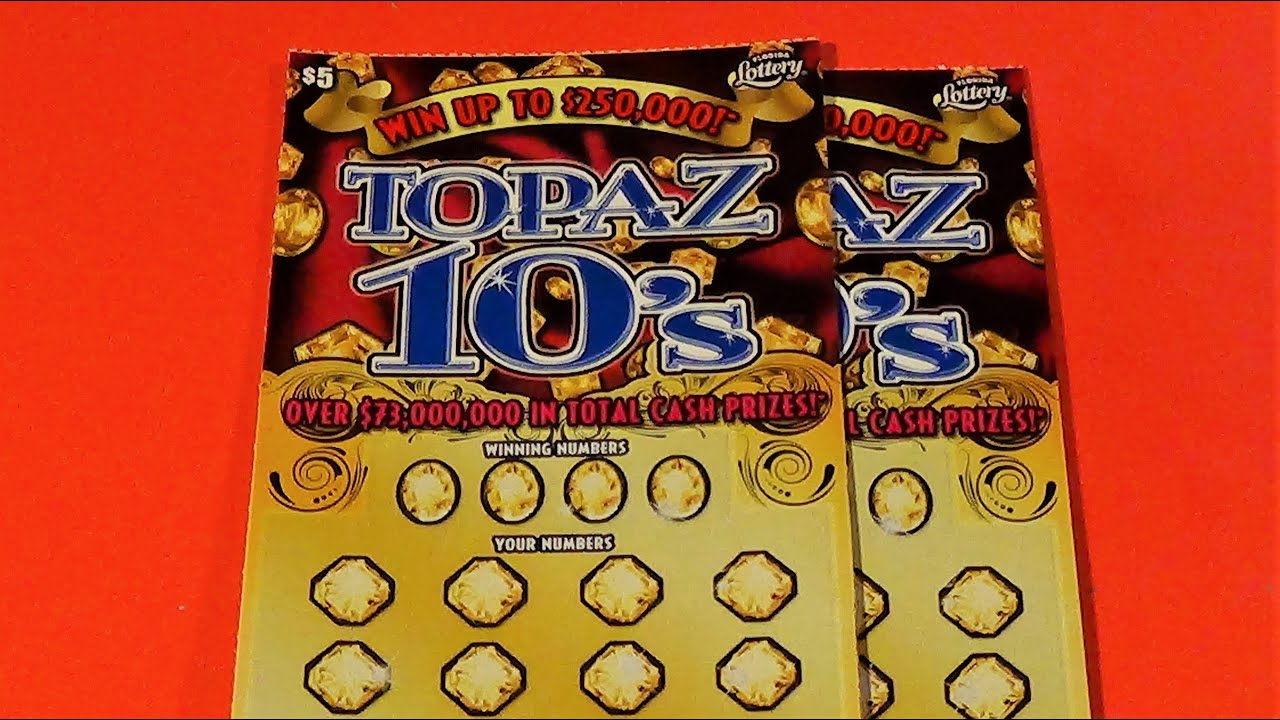 SOOD 463: TWO $5 TOPAZ 10s Florida Lottery Scratch Tickets