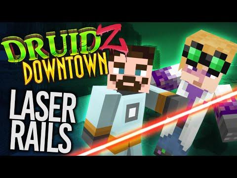 Minecraft Mods Druidz Downtown #90 - LASER RAILS