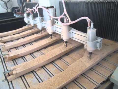 4 Eksen CNC  Ahşap Oyma CNC torna Kopya Makinası / Multihead 4 and 3 axis Wood Carving