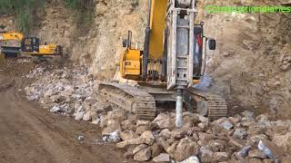 JCB Excavator Breaking Stone | Fast Track Construction | Dozer Videos