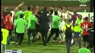 شجار بين اللاعبين في مباراة الجزائر و ليبيا بالمغرب