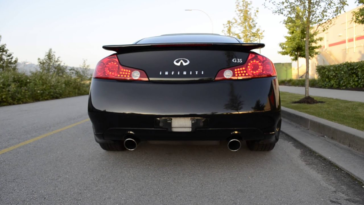 03 infiniti g35 coupe 6mt stock exhaust startup rev