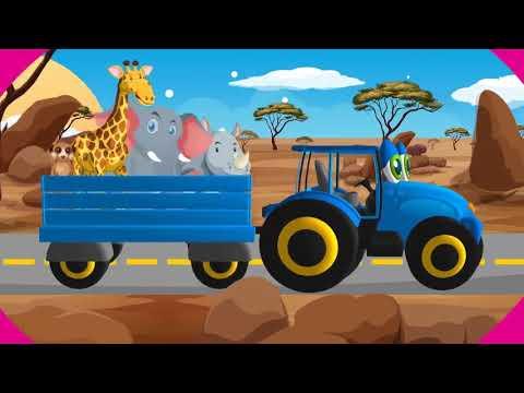 Песенки для детей   Синий Трактор в Саванне   Учим Диких Животных