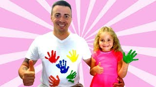 Nadia dad decorates t-shirt with his own hands