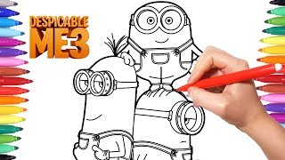 Despicable Me 3 Coloring Pages | How to Draw Minions | Minions Coloring Videos for Kids