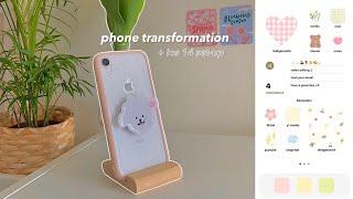 phone transformation 🍡 | aesthetic ios 14 setup, phone accessories, cute widgets