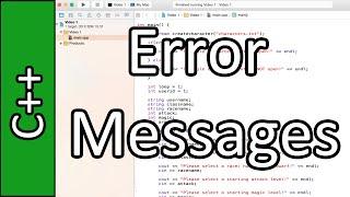 Creating Error Messages/Codes - C++ Programming Tutorial #50 (PC / Mac 2015)