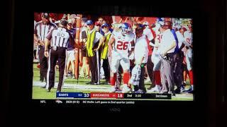 Saquon Barkley Ankle Injury. Giants vs  Buccaneers