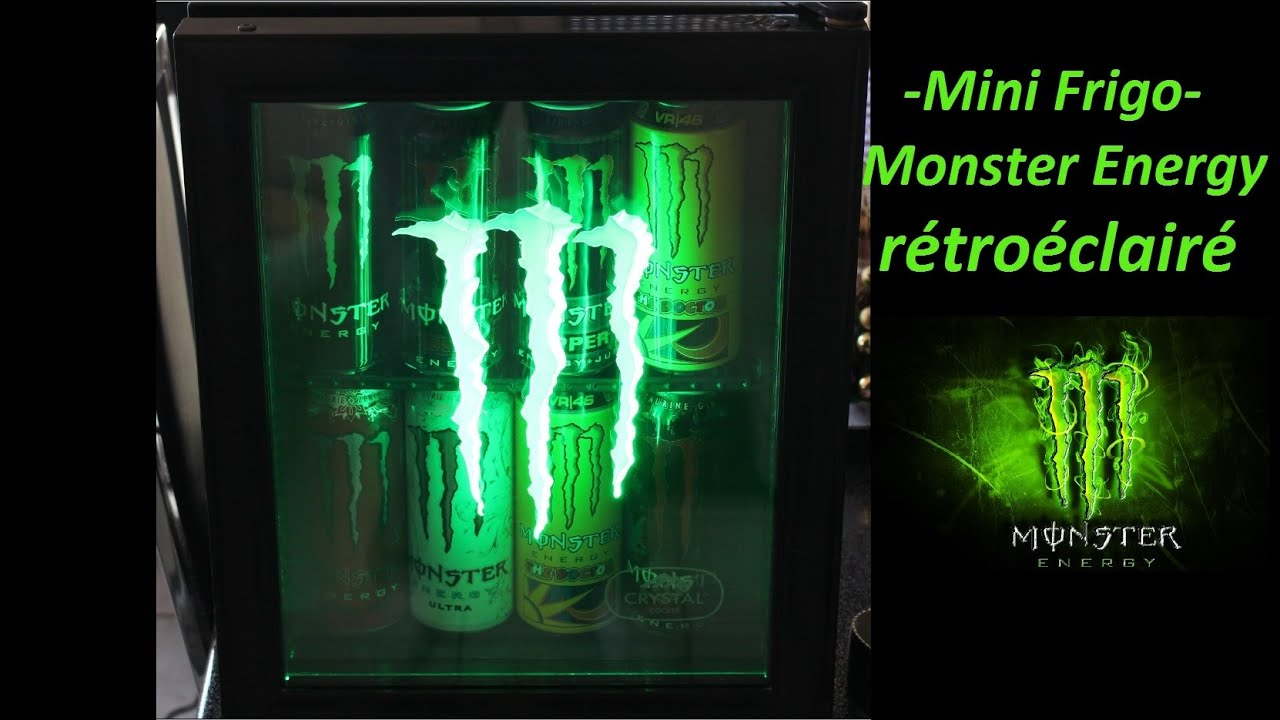 mini frigo fridge monster energy r tro clair youtube. Black Bedroom Furniture Sets. Home Design Ideas