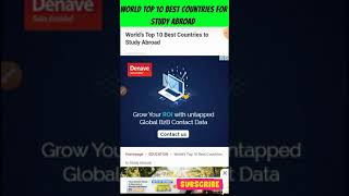World Top 10 Best Countries for Abroad Study | Global Education Immigration Students | #shorts