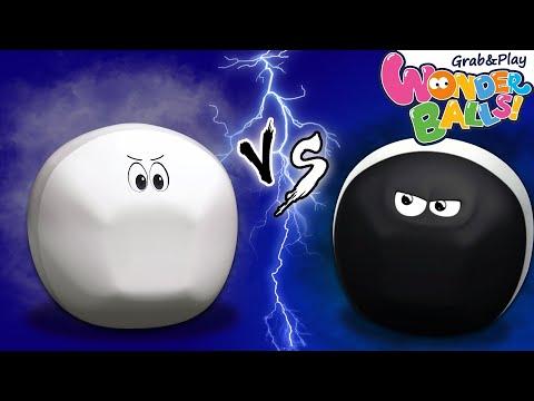 White Crayon Vs Black Crayons   Colorful Crayon Balls For Kids   Wonderballs Cartoons For Kids