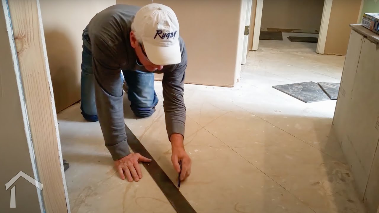 How To Install Bathroom Floor Tile   Large Size On An Angle