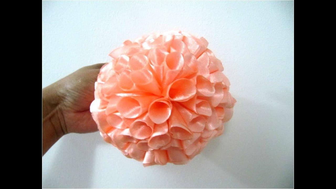 Mo os para el cabello flores copos pon pon en telas youtube - Flores de telas hechas a mano ...