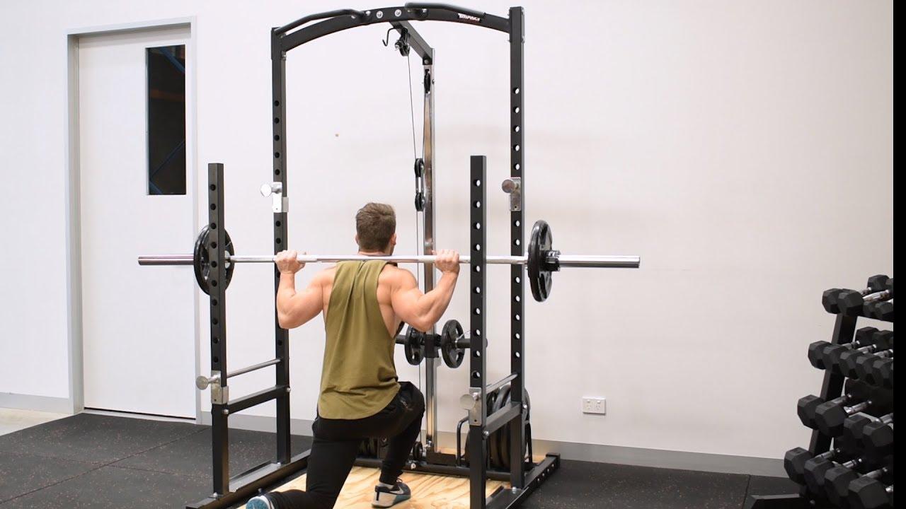 squat rack with lat pulldown low row pulley exercise video impact fitness impc985