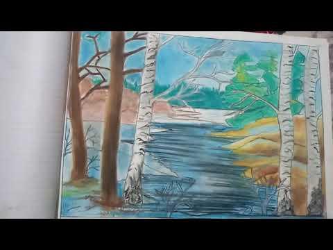 Beautiful landscape by soft pastels.