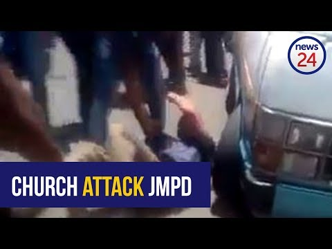 WATCH: Church-goers attack and disarm metro police officers in Hillbrow