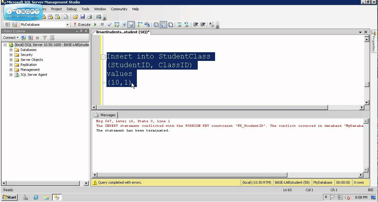 microsoft sql server create table foreign key example