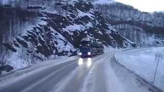 Road videos: Driving up to the Arctic area in a Volvo FH truck Part 1