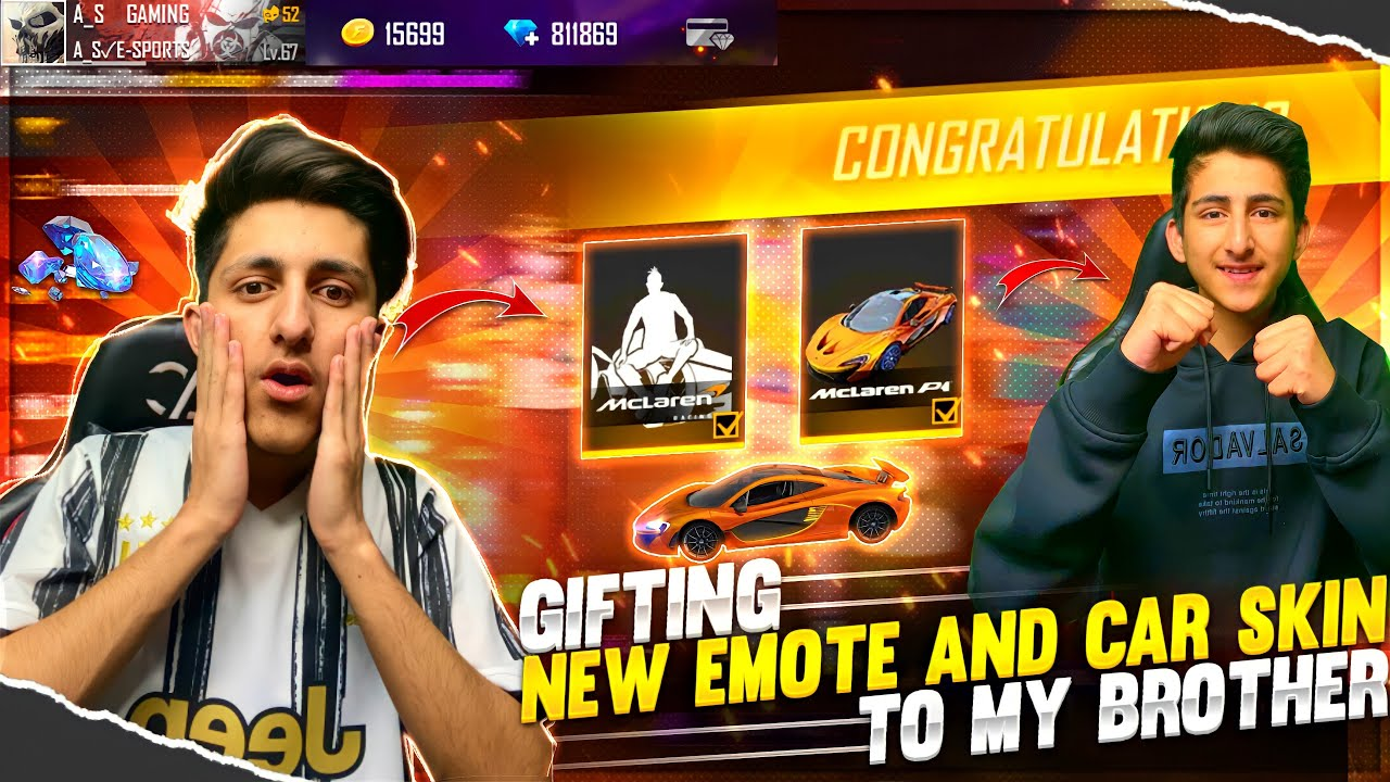 Gifting New Emote & Car Skin To My Brother (10,000 Diamond) New Event Free Fire ? - Garena Free