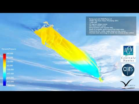 NUMECA - ONRT ship simulation in oblique waves with 6DOF and self-propulsion