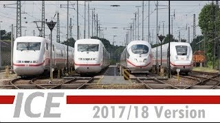 Alle ICE-Züge/all ICE-Trains:ICE 1,ICE 2,ICE 3,ICE T,ICE Velaro D,ICE MET,ICE 4 (2017/18©ZD Li)