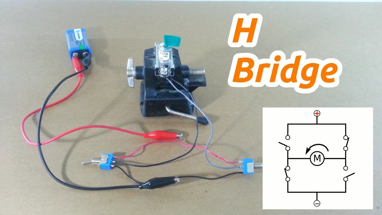 simple h bridge for motor control with switches [ 1280 x 720 Pixel ]