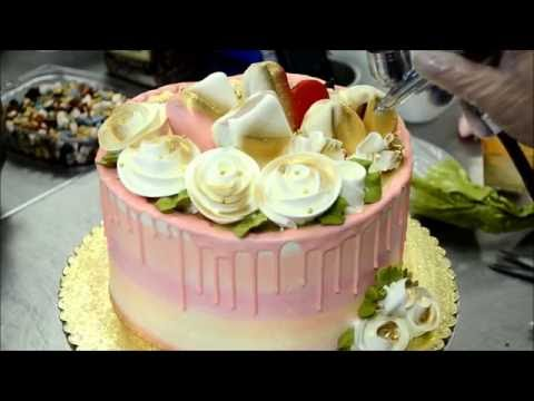 How To Make A Pink Cake With White Roses