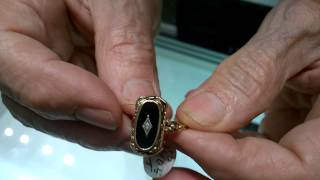 Antique 10k Gold Two Sided Cameo Onyx Diamond Flip Ring