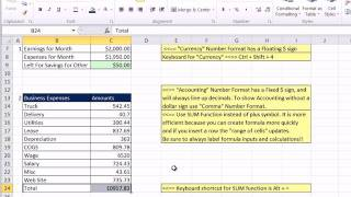 Excel 2010 Business Math 03: Stylistic and Number Formatting