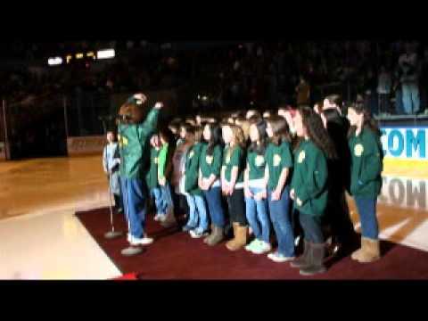 Grafton Elementary School Chorus sings at Worcester Sharks