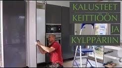 Keittiön ja kylpyhuoneen kalusteet asennetaan paikoilleen