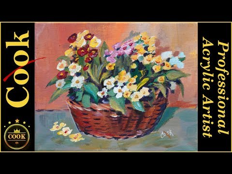 BASKET FULL OF POSIES Acrylic Painting Tutorial for Beginner and Advanced Artists with Ginger Cook