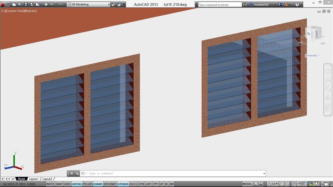 autocad 3d house creating a louvered ventilator autocad 3d ventilator autocad rendering youtube