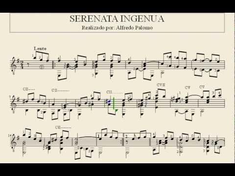 Partitura serenata ingenua de rodrigo riera para guitarra for Partituras guitarra clasica