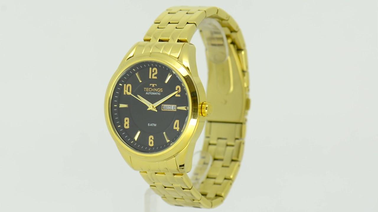 602f71deb5399 Relógio Technos Masculino Automático 8205NI 4P - Eclock - YouTube