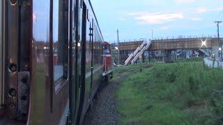 磐越西線 9233レ 臨時快速 DE10-1680牽引12系客車 新津駅到着前の車内放送