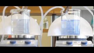 Dilution of solution, two containers