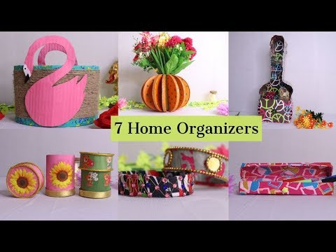 7 Useful DIY Home Organizers Idea made out of Waste Cardboard at Home By Aloha Crafts