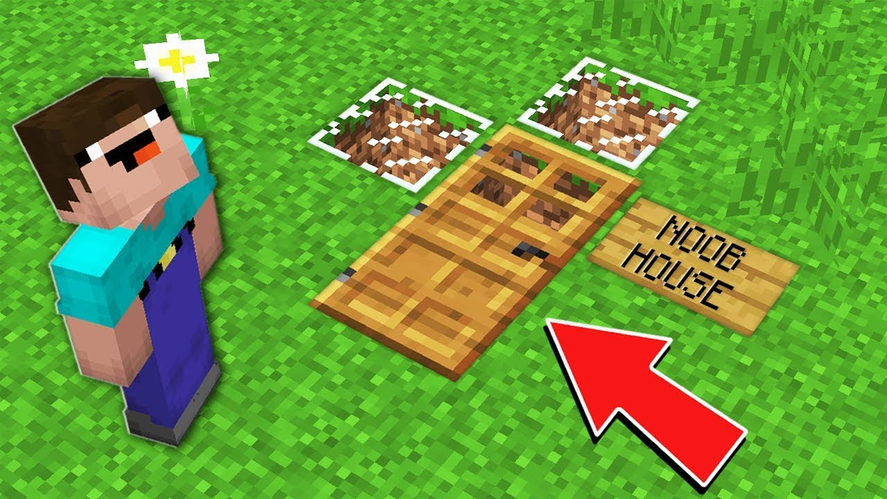 Download Minecraft NOOB vs PRO: HOW NOOB BUILD THIS SECRET HOUSE IN DIRT IN VILLAGE Challenge 100% trolling