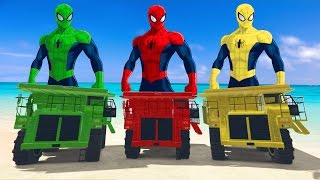SPIDERMAN COLOR VS MCQUEEN CAR SPIDER MONSTER DUMP TRUCK  Fun superhero movie Nuresy Rhymes For Kids