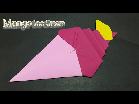 How to fold Paper Mango Ice Cream? Origami Mango Ice Cream | easy craft for kids / DIY School Suppl