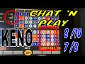KENO PLAY Sunday afternoon post game show group pull keno video HIT 8 of 10 and 7 of 8 4 card KENO