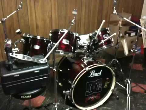 for sale pearl exr 5 piece drum set with all hardware iro youtube. Black Bedroom Furniture Sets. Home Design Ideas