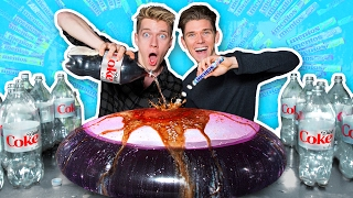 In this diy experiment I take the diet coke and mentos challenge to the extreme by exploding a giant wubble bubble bath pool toy. Brothers test and try this crazy ...